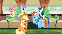Applejack and Rainbow in deep thought S6E18