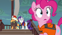 Pinkie and Rarity looking at the storm S6E22