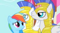 Rainbow Dash looking at Royal Guards S1E22
