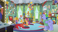 Scootaloo, Bow, and Windy in Rainbow's trophy room S7E7
