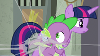 Spike gets stuck in a spider web S9E5