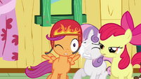 The other Crusaders being hit by Scootaloo S3E11