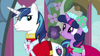Twilight and Shining Armor smiling at each other S2E26