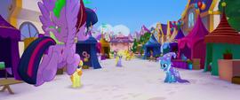 Twilight and Spike fly across the festival grounds MLPTM