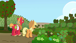 Big McIntosh and Applejack looking at Sweet Apple Acres S01E04.png