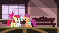 Cutie Mark Crusaders see the train arrive S9E12