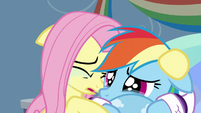 Fluttershy crying alongside Rainbow Dash S5E5