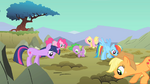 Main ponies look down the holes S01E19