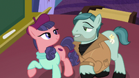 On Stage and Raspberry Beret look at each other S8E7