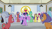 Ponies turn to look at Twilight Sparkle S8E16