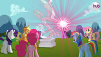 Promotional main ponies about to free Discord S3E10