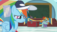 Rainbow lowers her head in shame S9E15