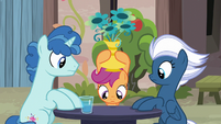 Scootaloo looking for Big Mac under a vase S7E8