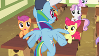 Fillies in awe of Rainbow Dash S4E05