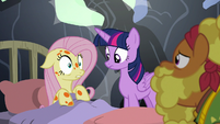 Fluttershy very surprised in Meadowbrook's bed S7E20