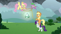 Ponies and Spike try to steal the bell S9E25