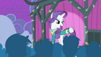Rarity greeting the citizens of Ponyville S4E14