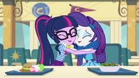 Twilight Sparkle and Rarity hugging EGDS12a
