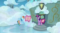 Twilight and Rainbow outside the cadet classroom S6E24