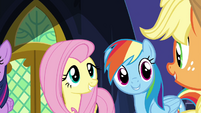 Fluttershy, RD, and Applejack singing S4E26