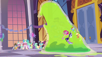 Giant Smooze approaches other Gala ponies S5E7