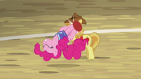 Pinkie launches ball with her somersault kick S6E18