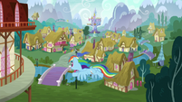 Rainbow Dash flying into town S6E7