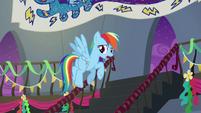 Rainbow Dash flying upstairs S6E7