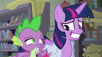 Spike nudging Twilight with his elbow S9E5