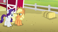 Applejack and Rarity look at each other S6E15