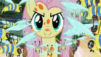 Fluttershy using Stare on the flash bees S7E20