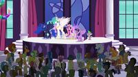 Princess Twilight Sparkle addresses the delegates S5E10