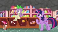 Twilight and Spike see Pinkie speed off S6E22