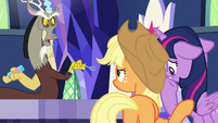 Discord offended by Applejack's glare S9E1