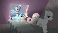 Mane Six and village ponies enter Starlight's secret passage S5E2