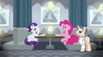 Rarity and Pinkie in a third restaurant S6E12