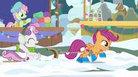 Scootaloo pulling Sweetie Belle's sled MLPBGE