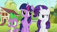 Twilight, Rarity, and Spike bewildered S6E10