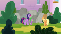 Twilight, Spike, and Applejack in front of rocks S9E4