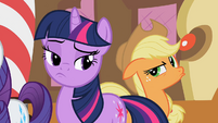 Twilight and Applejack pondering S02E08