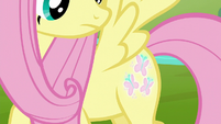 Fluttershy looking at her glowing cutie mark S5E23