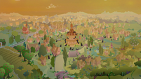 Ponyville covered in crystals and vines S9E2