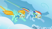 Rainbow Dash & Lightning Dust creating drag S3E7