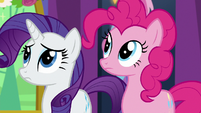 Rarity and Pinkie look at Rainbow Dash S7E1