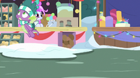 Spike flies off from Ponyville marketplace MLPBGE