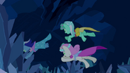 1000px-Minuette, Lyra Heartstrings and Twinkleshine jump after the bouquet S2E26