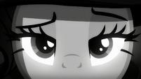 A close-up of Rarity's eyes S5E15