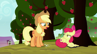 Applejack stomping her hoof at Apple Bloom S8E12