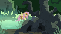 Fluttershy feebly flies up the flash bee tree S7E20