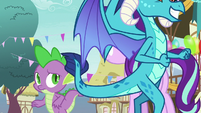 Ember walks past Spike and Starlight Glimmer S7E15